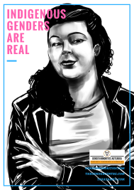 [image: a black and white illustration of an indigenous trans person looking at the viewer and smiling. There is large pink block text which says indigenous genders are real. Near the bottom is a small Gender Minorities Aotearoa logo which has a transgender symbol in a circle and says Gender Minorities Aotearoa, takataapui, transgender, and intersex nz. Underneath the logo are 3 URLs genderminorities.com, thegendercentre.com, and takataapui.com]
