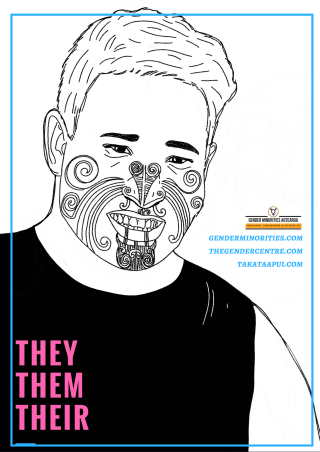 image: a black and white illustration of a Maori trans person looking at the viewer and smiling. There is large pink block text which says they, them, their. There is a small Gender Minorities Aotearoa logo which has a transgender symbol in a circle and says Gender Minorities Aotearoa, takataapui, transgender, and intersex nz. Underneath the logo are 3 URLs genderminorities.com, thegendercentre.com, and takataapui.com]