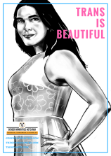 [image: a black and white illustration of a young pakeha transgender woman looking at the viewer and smiling. There is large pink block text which says trans is beautiful. Near the bottom is a small Gender Minorities Aotearoa logo which has a transgender symbol in a circle and says Gender Minorities Aotearoa, takataapui, transgender, and intersex nz. Underneath the logo are 3 URLs genderminorities.com, thegendercentre.com, and takataapui.com]
