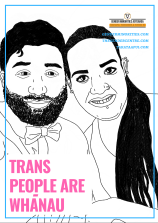 [image: a black and white illustration of two Maori (possibly trans) people leaning together in a semi-hug, looking at the viewer and smiling. There is large pink block text which says trans people are whanau. There is a small Gender Minorities Aotearoa logo which has a transgender symbol in a circle and says Gender Minorities Aotearoa, takataapui, transgender, and intersex nz. Underneath the logo are 3 URLs genderminorities.com, thegendercentre.com, and takataapui.com]