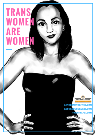 [image: a black and white illustration of a young Maori trans woman looking at the viewer and smiling. There is large pink block text which says trans women are women. Near the bottom is a small Gender Minorities Aotearoa logo which has a transgender symbol in a circle and says Gender Minorities Aotearoa, takataapui, transgender, and intersex nz. Underneath the logo are 3 URLs genderminorities.com, thegendercentre.com, and takataapui.com]